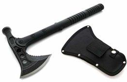 KOSxBO® Profi Tomahawk Camping-Axt Kriegs-Beil Schwarz Outdoor Survival Hammer Werkzeug Ausrüstung im Set mit Gürtelholster - BEIL TOMAHAWK - 1
