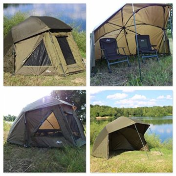 Lucx® Wolf Schirmzelt Brolly Shelter Angelzelt Karpfenzelt Zelt Bivvy Campingzelt 10.000mm Wassersäule - 9