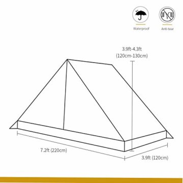OneTigris Tangram UL Doppelzelt Easy Setup Shelter Zelt 3 Jahreszeiten  MEHRWEG Verpackung - 5