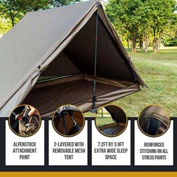 OneTigris Tangram UL Doppelzelt Easy Setup Shelter Zelt 3 Jahreszeiten  MEHRWEG Verpackung - 7