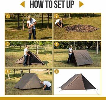 OneTigris Tangram UL Doppelzelt Easy Setup Shelter Zelt 3 Jahreszeiten  MEHRWEG Verpackung - 8