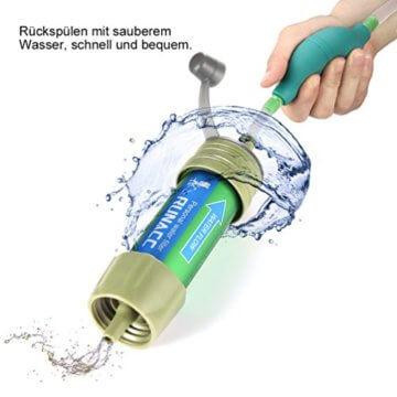 RUNACC Mini Wasser Filter mit Ballpumpe Schnelles Trinken und Rückspülen Design, 2000L - 6