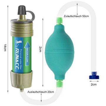 RUNACC Mini Wasser Filter mit Ballpumpe Schnelles Trinken und Rückspülen Design, 2000L - 9